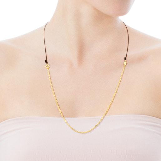 Μακριά Αλυσίδα TOUS Chain από Ασήμι Vermeil με Κορδόνι