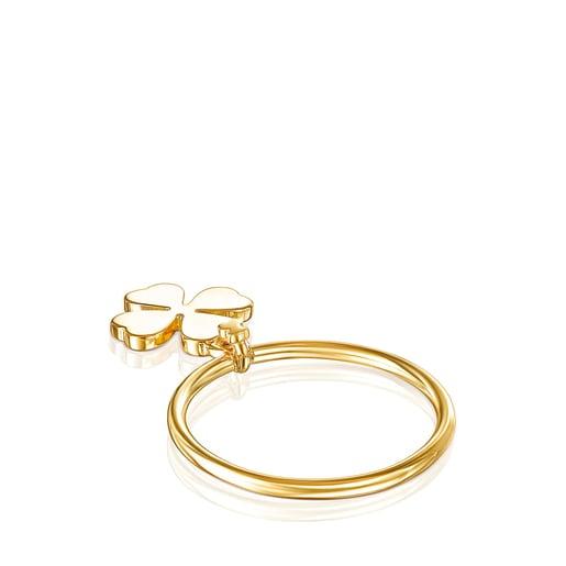 Silver Vermeil TOUS Good Vibes clover Ring