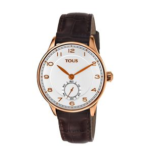Pink IP Steel Corintho Watch with brown Leather strap