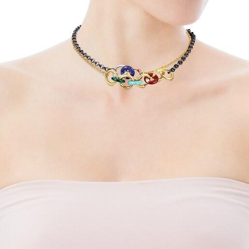 Collar de plata vermeil, plata dark silver y gemas Hold Gems
