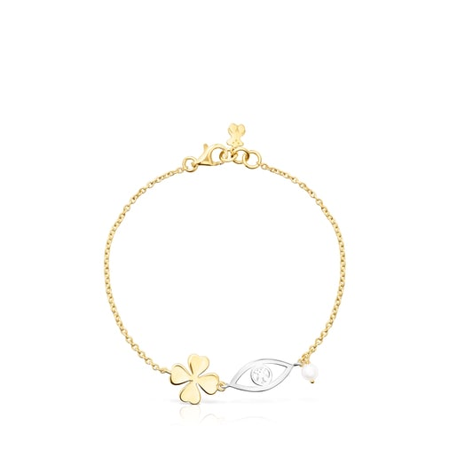 Silver Vermeil and Silver TOUS Good Vibes Bracelet with Pearl