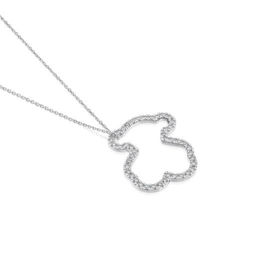 White Gold TOUS Icon Gems Necklace with Diamonds 2cm. Bear motif