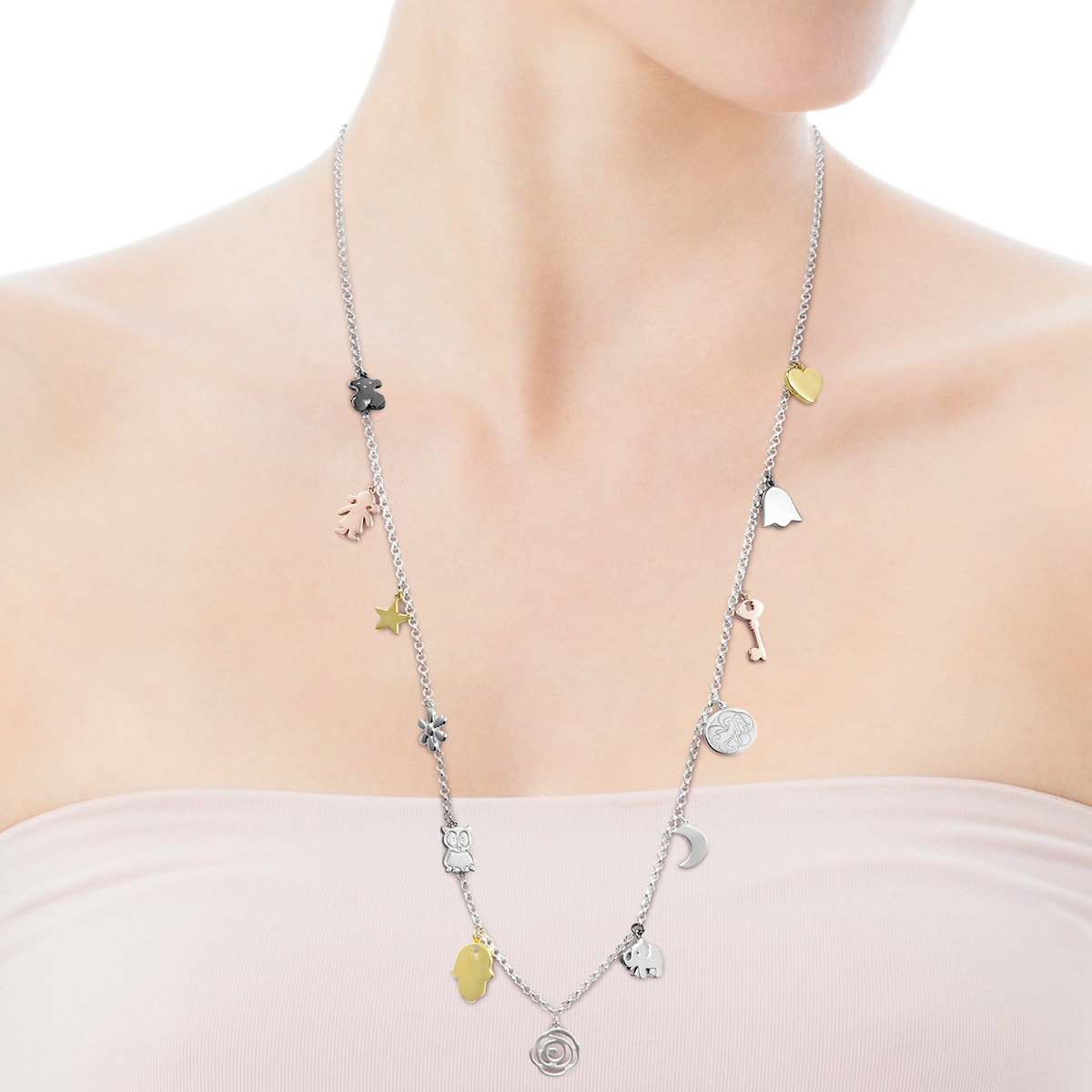 Silver, Gold Vermeil, rose Gold Vermeil and Dark Silver Sweet Dolls Necklace