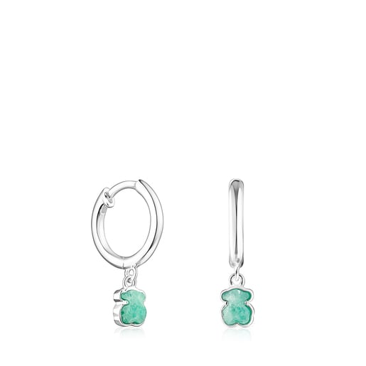 Pendientes Cool Color de plata y amazonita