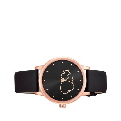 Reloj Bear Time de acero IP rosado con correa de piel negra