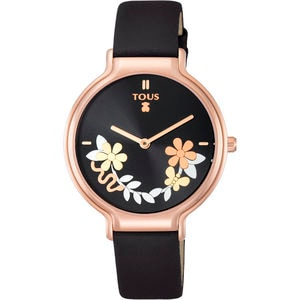 Rellotge Real Mix d'acer IP rosat amb corretja de pell marró