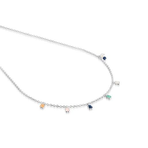 Collar Mini Color de Plata con Gemas y Perla