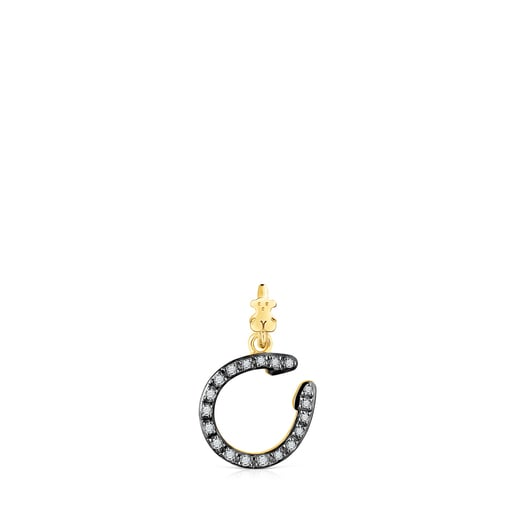Silver Vermeil TOUS Good Vibes horseshoe Pendant with Diamonds