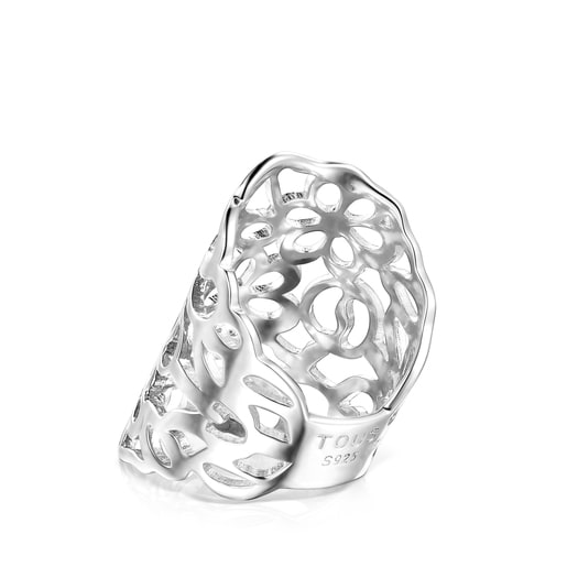 Silver TOUS Antic Ring with openwork flowers