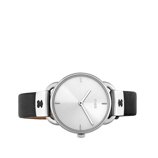 Relógio Let Leather em aço com correia em pele preta