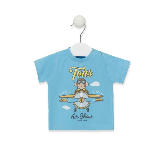 Camiseta Casual Azul Celeste