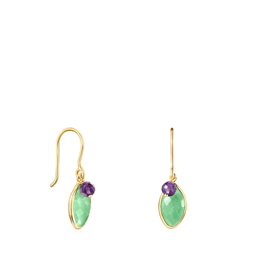 Silver Vermeil TOUS Good Vibes Earrings with Aventurine and Amethyst