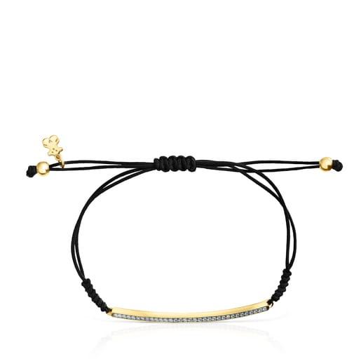 Bracelet Nocturne barre en Or Vermeil, Diamants et Cordon noir
