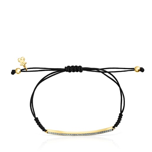 Nocturne bar Bracelet in Silver Vermeil with Diamonds and black Cord