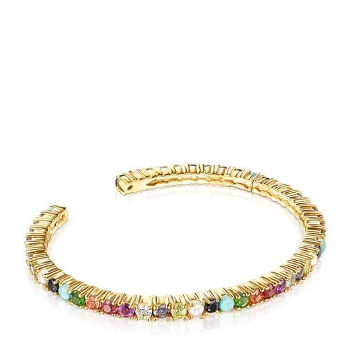 Silver Vermeil Straight Color Bracelet with Gemstones
