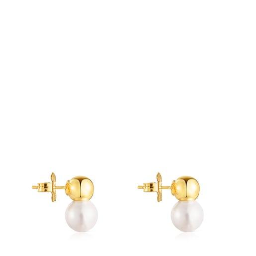 Ohrringe Gloss aus Vermeil-Silber mit großer Perle