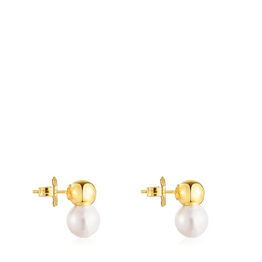 Silver Vermeil Gloss Earrings with large Pearl