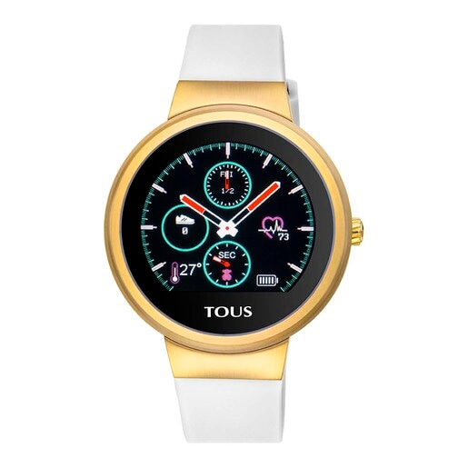 Gold IP Steel Rond Touch activity Watch with interchangeable Silicone strap