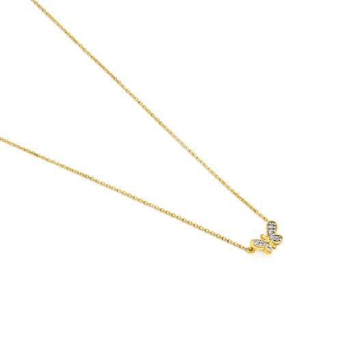 Collar Bera de Oro con Diamantes motivo Mariposa