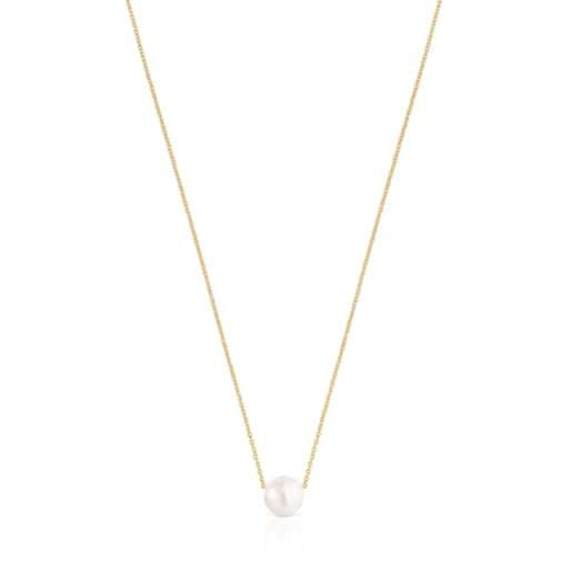 Silver Vermeil Gloss Necklace with Pearl