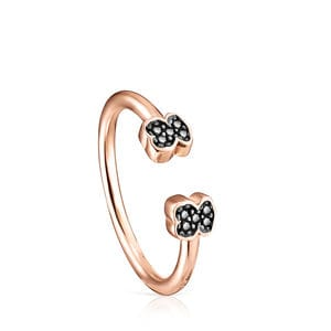 Rose Gold Vermeil Motif open Ring with Spinels