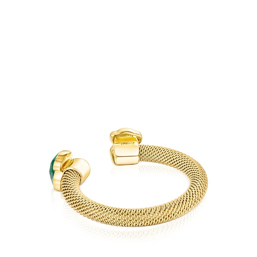 Gold-colored IP Steel Mesh Color open Ring with Malachite