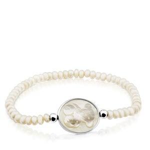 Pulsera Camee de Plata y Perlas con Nácar