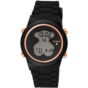 Rose IP Steel D-Bear Digital watch with black Silicone strap