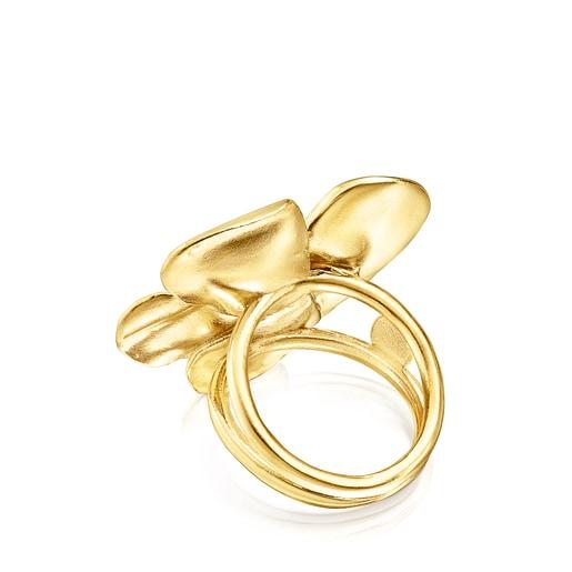 Silver Vermeil Fragile Nature flower Ring