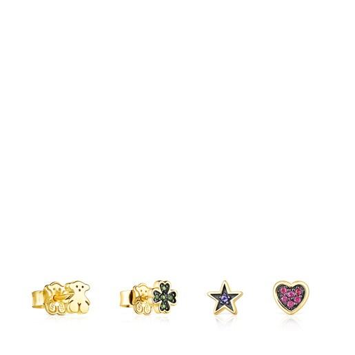 Pack de Brincos Teddy Bear em Prata vermeil e Pedras preciosas