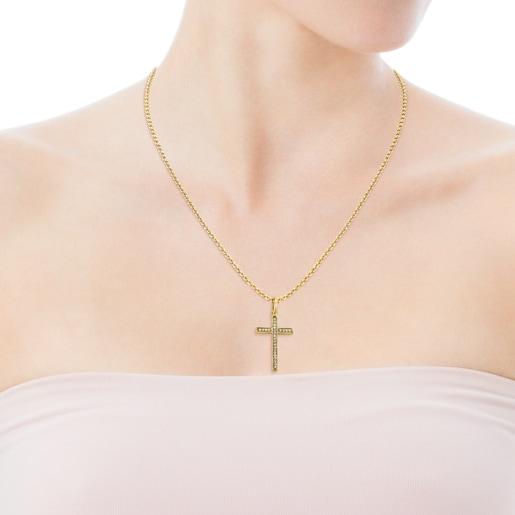 Μενταγιόν-σταυρός Nocturne από Χρυσό Vermeil με Διαμάντια