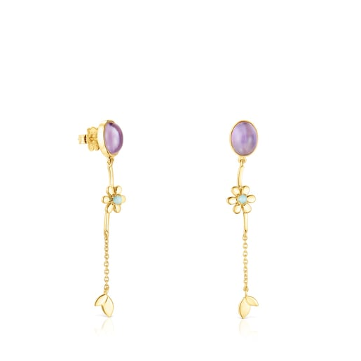 Long Silver Vermeil Fragile Nature Earrings with Gemstones
