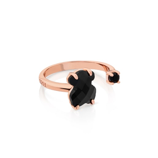 Pink Vermeil Silver Erma Ring with Onyx
