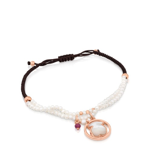 Rose Vermeil Silver Camille Bracelet with Mother-of-Pearl and Ruby