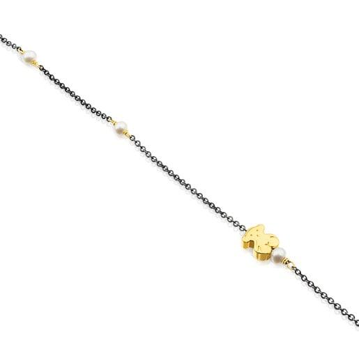 Pulsera Gem Power de Plata Pavonada con Oro y Perlas