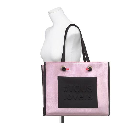 Large Metallic Pink Amaya Shopping Bag