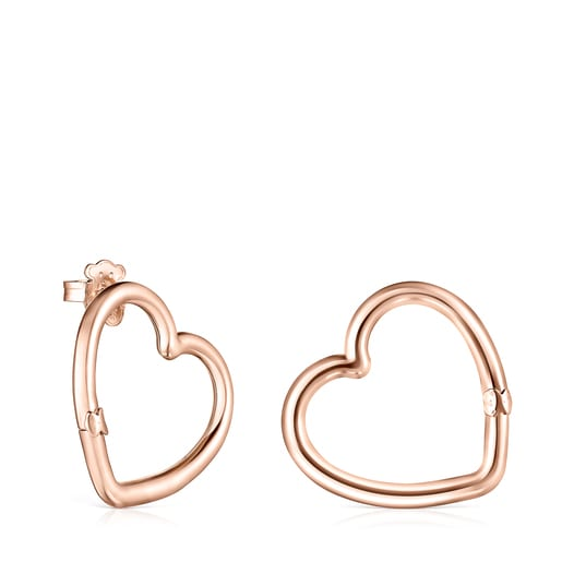 Medium Hold Rose Vermeil heart Earrings