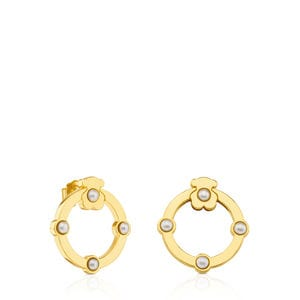 Aretes Super Power de Oro con Perlas