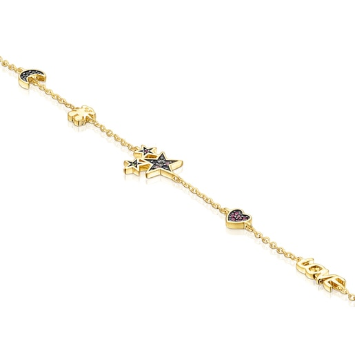 Silver Vermeil Teddy Bear Bracelet with Gemstones