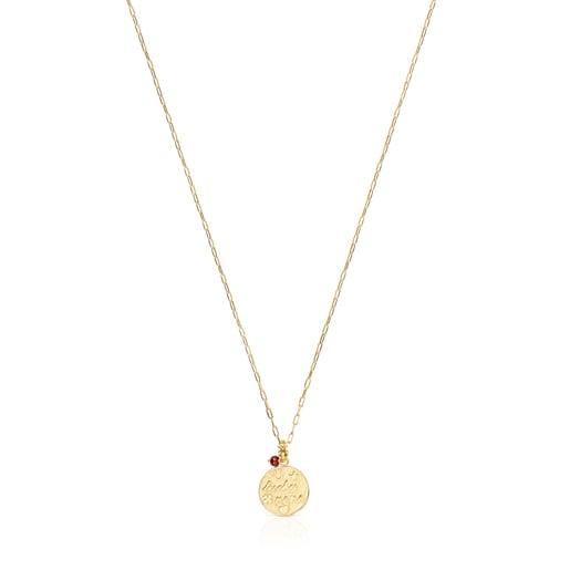 Halskette TOUS Good Vibes Mama aus Vermeil-Silber mit Rubin