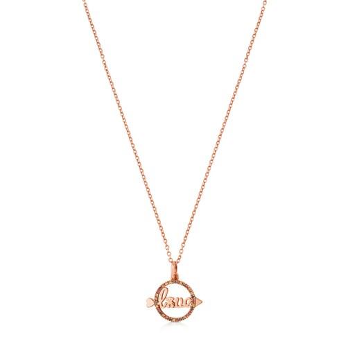 Collar TOUS San Valentín de Plata Vermeil rosa con Zafiro