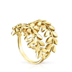 Anillo Real Mix Leaf de Plata Vermeil
