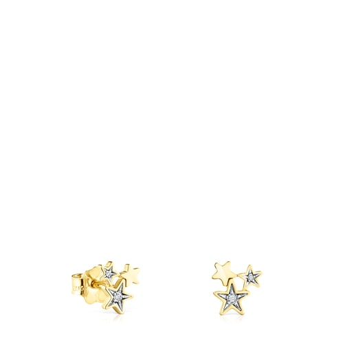 Arracades Teddy Bear Stars d'or i diamants