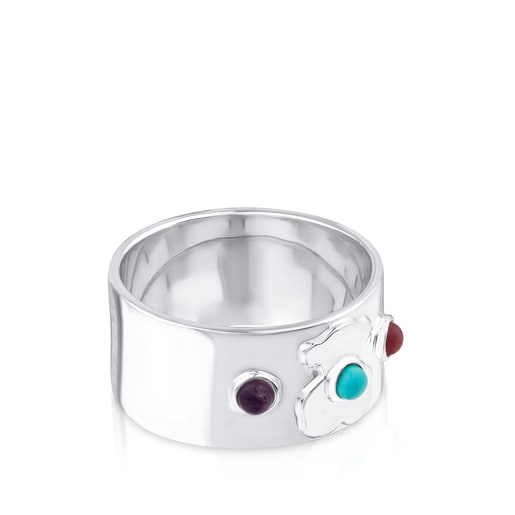 Silver Super Power Ring with Amethyst, Ceramic and Rhodonite