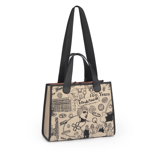 TOUS Centenary Embroidery beige and black leather Tote bag