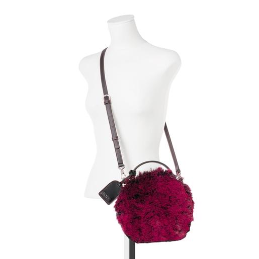 Small black-carmine Dulzena Warm crossbody bag