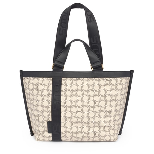 Beige-black Tous Logogram tote bag