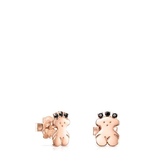 Bären-Ohrringe Real Sisy aus Vermeil-Roségold mit Spinellen