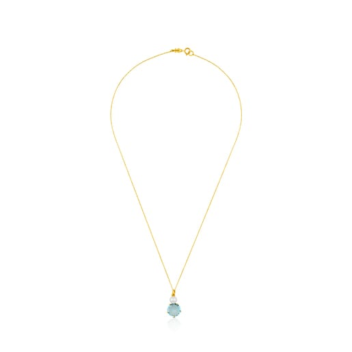 Gold Ivette Necklace with Topaz and Pearl