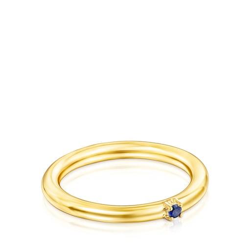 Anillo Ring Mix de plata vermeil y zafiro azul